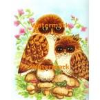 Owl Family & Grasshopper  - #XBAN322  -  PRINT