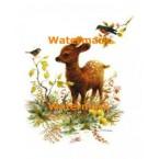 Deer & Birds  - XBAN845  -  PRINT