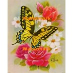 Butterfly & Pink Roses  - #XBBF18  -  PRINT
