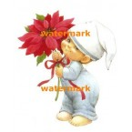 Boy With Poinsetta  - #XM351  -  PRINT