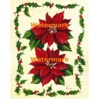 Red Poinsettias And Holly  - #XM457  -  PRINT