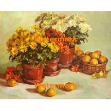 Chrysanthemums and Lemons  - #XBFL1139  -  PRINT