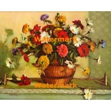 Zinnias and Marigolds  - XBFL1140  -  PRINT