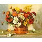 Dahlias and Chrysanthemums  - #XBFL1141  -  PRINT