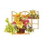 Flowers By Window  - #XBFL1226  -  PRINT