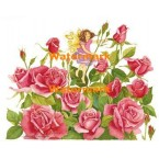 Fairy in Pink Roses  - #XBJ1036  -  PRINT