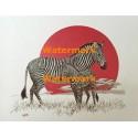 Zebra Family Circle  - #XKH3008  -  PRINT
