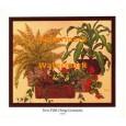 Ferns With Orange Geraniums  - #XKCH9161  -  PRINT