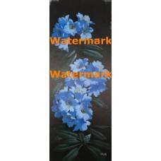 Ebony and Blue Floral  -  #XKKZ493  -  PRINT