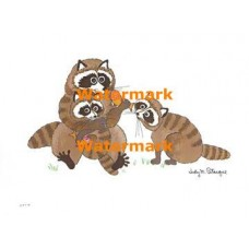 Raccoons & Fish  - XBAN284  -  PRINT