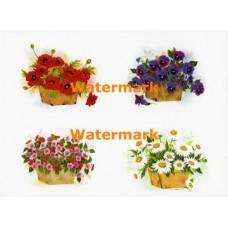 Baskets of Flowers  - XBFL962  -  PRINT 4 Designs