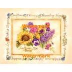 Sunflower, Lilac, &Pansy  -  #XAR7391  -  PRINT