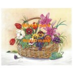 Basket of Florals with Green Grapes  - #XM424  -  PRINT