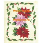Red & Pink Poinsettias and Holly  - #XM458  -  PRINT
