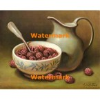 Bowl of Raspberries  - #XS6155  -  PRINT