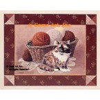 Cat & Knitting Basket  - #BOR41  -  PRINT