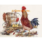 Rooster & Chicken  - #COR9  -  PRINT