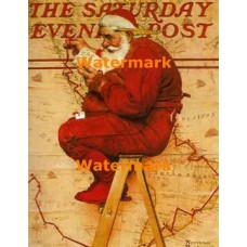 Santa At The Map  - BNR0233  -  PRINT