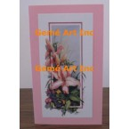 Pink Flower Note Card  - #CardRQ146-6  -  NOTE CARD