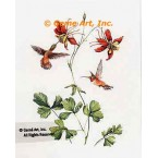 Hummingbirds with Columbine  - MOR904  -  PRINT