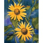 Sunflower With Foliage  - #MOR805  -  PRINT