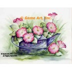 Pinks In The Watering Can  - #SOR112  -  PRINT