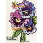 Purple Pansies  - #TOR954  -  PRINT