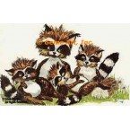 Raccoon Family  - #TOR930  -  PRINT