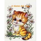 Cat In Daisy Garden  - #TOR853  -  PRINT