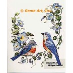 Birds & Morning Glories  - #TOR5158  -  PRINT