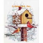 Birdhouse with Cardinals  - TOR5297  -  PRINT