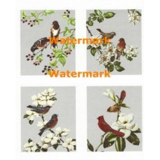 Birds with Flowers & Berries  - XBBI-127  -  PRINT 4 Up Designs