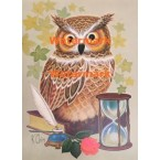 Owl Book Inkwell Rose and Hourglass  - XD7517  -  PRINT