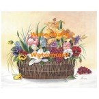 Basket of Florals with Red Grapes  - #XM425  -  PRINT