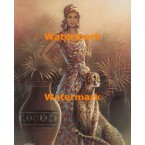 Woman and Leopard  -  #XS14099  -  PRINT